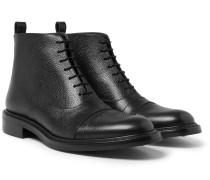 Milo Cap-toe Pebble-grain Leather Boots