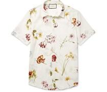 Slim-Fit Floral-Print Cotton Shirt