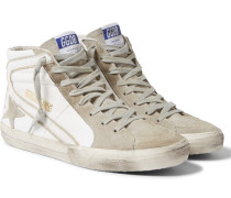 Distressed Leather And Suede High-top Sneakers