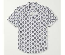 Camp-Collar Jacquard Shirt