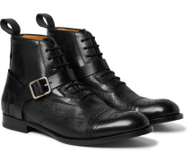 Panelled Leather Harness Brogue Boots