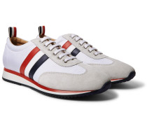Striped Suede And Leather-trimmed Canvas Sneakers