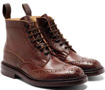 Stow Burnished-leather Brogue Boots