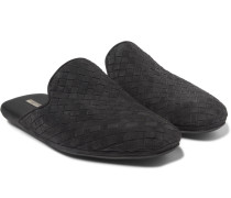 Intrecciato Suede Backless Slippers