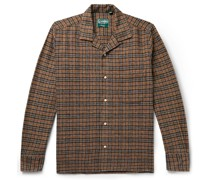 Camp-Collar Checked Cotton-Flannel Shirt