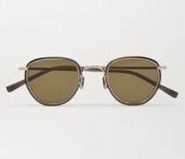 Round-Frame Acetate and Gold-Tone Sunglasses