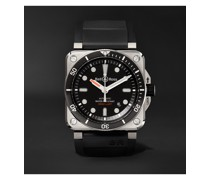 BR 03-92 Diver Automatic 42mm Stainless Steel and Rubber Watch, Ref. No. BR0392-D-BL-ST/SRB