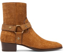 Wyatt 40 Croc-Effect Suede Boots