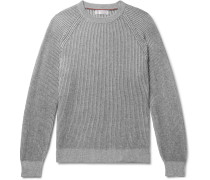 Striped Ribbed Cashmere Sweater