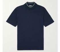Slim-Fit Stripe-Trimmed Cotton Mock-Neck Golf Sweater