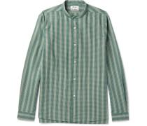 Pine Grandad-collar Cotton-jacquard Shirt