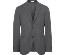 Grey K-jacket Slim-fit Checked Virgin Wool Suit Jacket