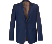 Navy Wool And Mohair-blend Suit Jacket