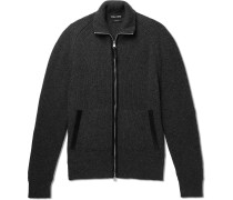 Nubuck-trimmed Mélange Wool And Silk-blend Zip-up Sweater