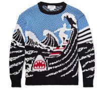 Jacquard-knit Cotton Sweater