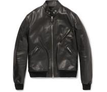 Slim-fit Leather Bomber Jacket