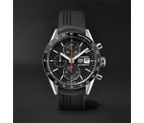 Carrera Automatic Chronograph 41mm Steel And Rubber Watch