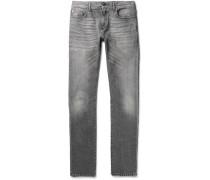 Skinny-fit 15cm Hem Washed-denim Jeans