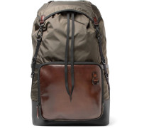 Hike-on Mm Polished-leather And Nylon Backpack