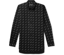 Oversized Button-down Collar Printed Cotton-twill Shirt