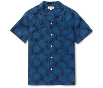 Camp-collar Printed Silk And Linen-blend Shirt