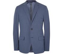 Blue Simons Slim-fit Gingham Stretch Cotton-blend Blazer