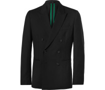 Black Soho Slim-fit Double-breasted Wool Suit Jacket