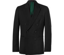 Black Soho Slim-fit Double-breasted Wool Suit Jacket