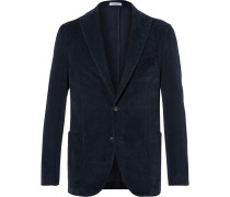 Navy Slim-fit Stretch-cotton Corduroy Blazer