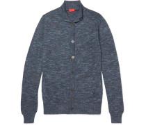 Slim-fit Mélange Cotton And Linen-blend Cardigan