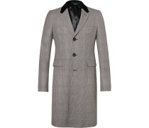 Velvet-trimmed Prince Of Wales Checked Wool Coat