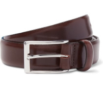 3cm Brown Glossed-leather Belt