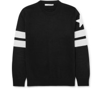Slim-fit Appliquéd Cotton Sweater