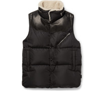 Shearling-trimmed Quilted Shell Down Gilet