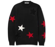 Cutout Intarsia Wool Sweater