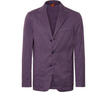 Purple Slim-fit Unstructured Stretch Linen And Cotton-blend Blazer - Purple