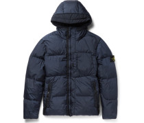 Garment-dyed Coated-shell Hooded Down Jacket