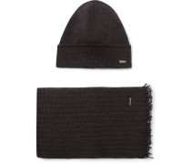 Marros Striped Virgin Wool-blend Hat And Scarf Set
