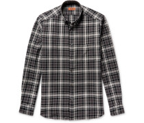 Button-down Collar Checked Textured-cotton Shirt
