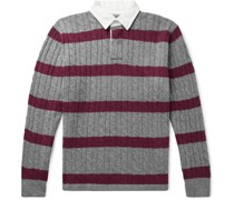 Twill-Trimmed Striped Cable-Knit Wool-Blend Sweater