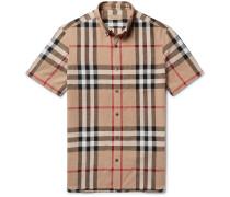 Button-down Collar Checked Linen And Cotton-blend Shirt