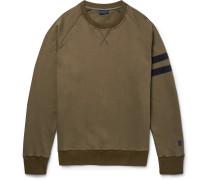 Grosgrain-trimmed Distressed Cotton-jersey Sweatshirt
