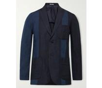 Slim-Fit Unstructured Panelled Indigo-Dyed Linen Blazer
