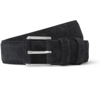 3.5cm Navy Maine Alligator-trimmed Suede Belt