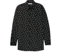 Columbian-fit Floral-print Silk Shirt
