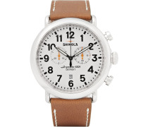 The Runwell 47mm Chronograph Stainless Steel And Leather Watch