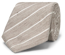 8cm Striped Slub Linen And Silk-blend Tie