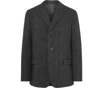 Charcoal Crinkled Wool-blend Blazer