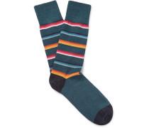 Striped Mélange Stretch Cotton-blend Socks