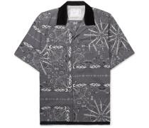 + Dr. Woo Camp-Collar Velvet-Trimmed Bandana-Print Woven Shirt